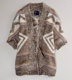 American Eagle Outfitters Open Patterned Cardigan The Blanket Sweater - Inspired by vintage Navajo blankets, these sweaters double as outerwear in early fall.