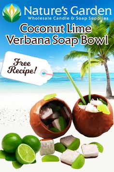 Free Coconut Lime Verbana Soap Bowl Recipe by Natures Garden