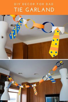 DIY Tie Garland Father's Day decoration idea. This free printable template makes handmade garland to hang near the table, at parties, or at church. Make this decoration for dads and grandpas. Diy Father's Day Gifts, Father's Day Diy, Party Gifts, Fathers Day Crafts, Happy Fathers Day, Diy Father's Day Decorations, Bunting, Father's Day Celebration, Personalized Gifts For Dad