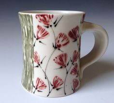 Porcelain Mug with Red Floral and Green Carving by Kristen K Swanson