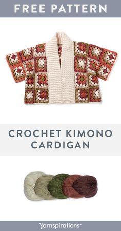 Caron x Pantone Bamboo Yarn Pattern Crochet Jumper, Crochet Cardigan Pattern, Granny Square Crochet Pattern, Crochet Jacket, Crochet Stitches, Crochet Hooks, Gilet Kimono, Kimono Cardigan, Crochet Designs