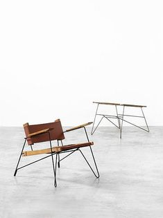 Serge Ketoff; Painted Tubular Metal, Walnut and Canvas Lounge Chair for Steph Simon, 1956.