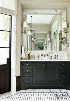 Black cabinet in bathroom