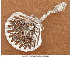 AN AMERICAN SILVER SARATOGA CHIP SERVER. Whiting | Lot #71416 | Heritage Auctions Silver Cutlery, Vintage Cutlery, Sterling Silver Flatware, Silver Spoons, Vintage Silver, Antique Silver, Carving Designs, Miniature Crafts, Antique Boxes