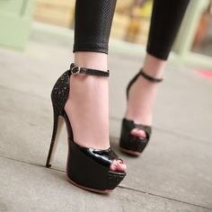 PU Patchwork Peep Toe Stiletto Heel Ankle Strap Sandals