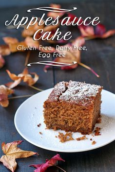 Amazing Applesauce Cake is too good. You won't believe it is gluten free, dairy free AND vegan. Gluten Free Sweets, Gluten Free Cakes, Gluten Free Baking, Vegan Sweets, Vegan Gluten Free, Gluten Free Apple Cake, Lactose Free, Egg Free Recipes, Cake Recipes