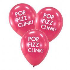 6 POP FIZZ CLINK Balloon Balloons Hot Pink Black Silver Gold Pink Aqua Blue Champagne Wedding Bridal Shower Engagement Bachelorette Decor by DesignsByEmbellish on Etsy https://www.etsy.com/listing/244794854/6-pop-fizz-clink-balloon-balloons-hot