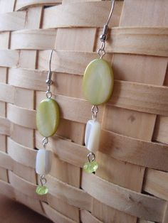 Green Dyed and White Shell Earrings