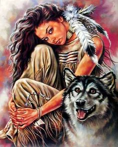 Indian Maiden and Wolf Native American Wall Decor Art Print Poster Impact Posters Gallery Native American Wolf, Native American Paintings, Native American Pictures, Native American Wisdom, Native American Beauty, American Indian Art, Native American History, Native American Decor, American Indians
