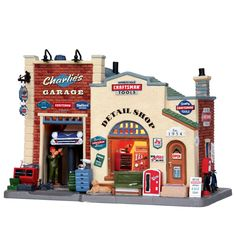 Lemax Village Collection Christmas Village Porcelain Lighted House - Charlie's Garage - Seasonal - Christmas - Villages & Collectibles