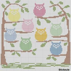 Free owl cross stitch pattern. I envision this with friends and family names stitched on the owls!