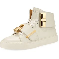 Buscemi Women's 100mm Trap High-Top Sneaker (13.380.760 IDR) ❤ liked on Polyvore featuring shoes, sneakers, off white, champagne flats, champagne shoes, high top sneakers, high top trainers and buscemi sneakers