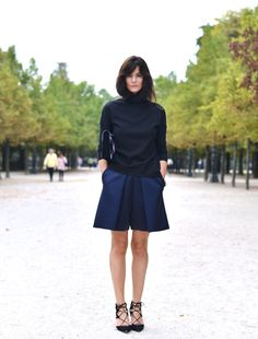 Hedvig Opshaug Parisian chic in Culottes by Celine, wool sweater from Cos, shoes by Aquazzura  bag by Dries Van Noten.