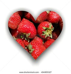 #heart with #shadow made from #strawberries