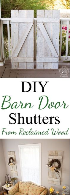 DIY Barn Door Shutters from Reclaimed Wood! Click through to see the tutorial on how to make these easy and cost-effective shutters!