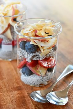 Coconut Chia Pudding; This Paleo, gluten-free, grain-free, dairy-free breakfast recipe is high in protein, color, and tropical flavor!