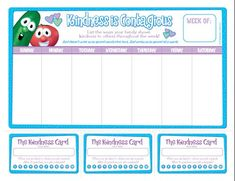 Free downloadable VeggieTales kindness chart and kindness punch cards.