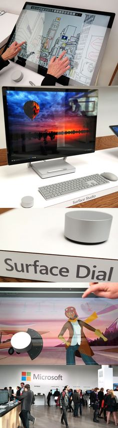 The @microsoft Surface Studio desktop PC has an impressive 28-inch, 4,500-by-3,000-pixel touch display, but at $2,999 to $4,199, it doesn't come cheap. It folds almost flat but smoothly glides upright. It comes with an Intel Core i5 or i7 processor, an @nvidia GeForce GPU with up to 4GB of memory, up to 32GB of RAM and 1TB or 2TB of storage. It comes with a Surface Pen stylus and works with the new Surface Dial, which can be placed directly on the screen to add new app-control features.: