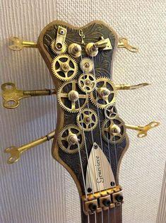 Steampunk guitar seen on FB. Arte Steampunk, Steampunk Theme, Steampunk Couture, Steampunk Design, Steampunk Fashion, Gothic Steampunk, Gothic Fashion, Guitar Diy, Music Guitar