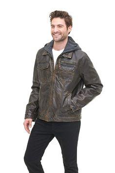 Levi's Men's Faux-Leather Two-Pocket Trucker Hoodie Jacket - Soomro