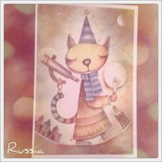 2013-10-19 #Postcard from #Russia (RU-2063765) via #postcrossing #cat #painting #Padgram