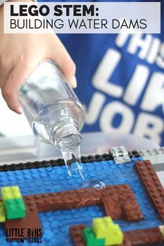 LEGO water activity for building dams and exploring the flow of water. One of the many cool ideas in the Unofficial Guide to Learning with LEGO book.