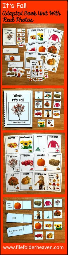 """This Fall Unit w/Real Photos is packed full of hands-on activities for your fall theme. Activities Included With This Community Helpers Unit: 1. Adapted Book (Interactive Book) w/ interactive matching pieces 2. 1 Set of Interactive Fall Things Posters (11 total) 3. Non-Exact Matching, """"Fall Things"""" Matching Mat 4 3 Sets of """"Big Flips"""" Matching Activities"""