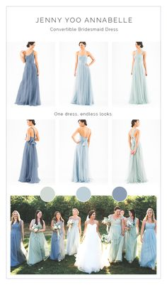 Mix n Match in shades of blue Jenny Yoo Anabella dress. A versatile elegant bridesmaid dress from @brideside