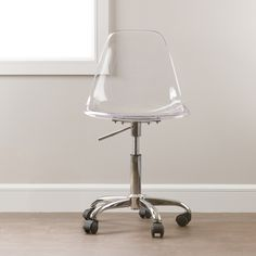 South Shore Clear Acrylic Office Chair with Wheels