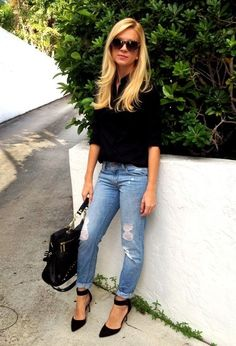 Style tips on how to wear boyfriend jeans Make a glam sequin top more casual by pairing it with boyfriend jeans. Description from pinterest.com. I searched for this on bing.com/images