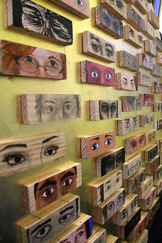 the eye project (side) | Flickr - Photo Sharing! Awesome project for any grade. Teacher may modify and students can cut own wood, use alternative methods as done here, or even use technology such as photoshop and transfer paper with other media.