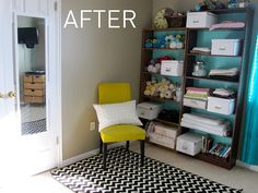 before & after sewing room makeover