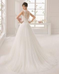 Atlanta vestido de novia tejido encaje y pedreria y tul