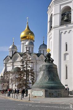 The Tsar Bell and the Cathedral of the Archangel in the Moscow Kremlin.Russia