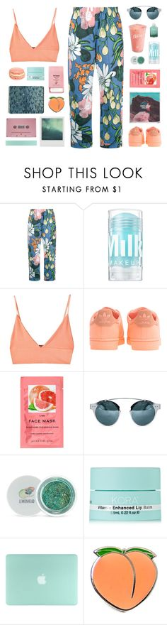 """""""Floral Pants"""" by amazing-abby ❤ liked on Polyvore featuring Marni, For Love & Lemons, adidas Originals, H&M, Disney, H2O+, Forever 21, KORA Organics by Miranda Kerr, PINTRILL and Pier 1 Imports"""