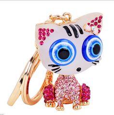 Cute Evil Eye Cat Crystal Keychain Women Handbag Gold Plated Car key chain Gift(China (Mainland))