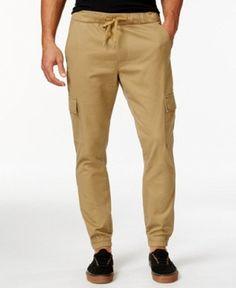 Univibe Men's Break Twill Cargo Jogger Pants Khaki L #Univibe #Cargo