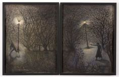 'Ill Met by Moonlight' diptych by John Byrne, 2015 (oil and pastel on paper)