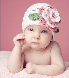 Baby beanie with a rose
