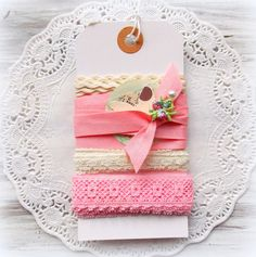 Pastel Pink Lace Trim DIY Tag Kit by vintagescrapshop on Etsy