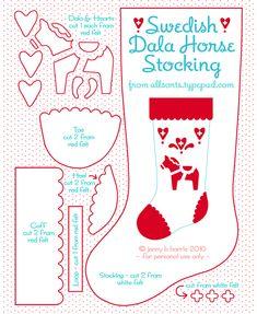 free pattern swedish dala horse stocking! sooo cute!
