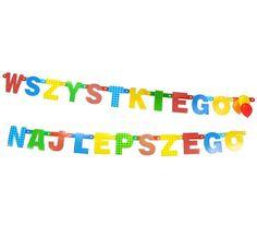 Girlanda urodzinowa Wszystkiego Najlepszego. Połączone ze sobą litery układające się w napis Wszystkiego Najlepszego. Doskonała dekoracja na wszelkiego rodzaju przyjęcia.