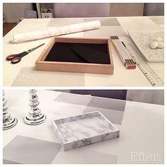 DIY. Ram--> Bricka. Kontaktplast i marmor.