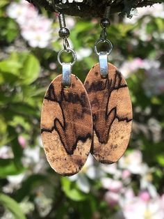 Small Wood Earrings Reclaimed Wood Spalted Hackberry Lightweight by forestlifecreations on Etsy