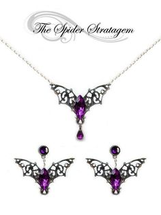 Items similar to Gothic bat winged earrings + necklace + ring 'Purple/Red Bats' halloween goth vampire horror victorian on Etsy Goth Jewelry, Purple Jewelry, Jewelry Sets, Silver Jewelry, Jewelry Making, Unique Jewelry, Gothic Jewellery, Jewlery, Pandora Jewelry