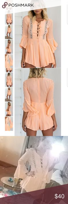 NWT Mura Boutique playsuit Size is a medium. Color is Peach. This playsuit is sold out. Color in the last picture is off bc of the flash, color is the same as modeled.  Let me know if you would like to see more pictures!    Sabo Skirt Hello Molly Peppermayo LF American Eagle Sabo Skirt Dresses Mini