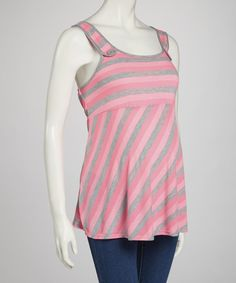 Take a look at this QT Maternity Pink & Gray Stripe Maternity Tank on zulily today!