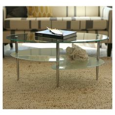 Glass Oval Living Room Metal Coffee Table - Saracina Home, Clear/Silver Oval Glass Coffee Table, Coffee Table With Shelf, Glass End Tables, Oval Table, Magazine Table, Stylish Coffee Table, Sofa Tables, Glass Shelves, Living Room Furniture