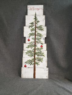 """This unique piece is 36"""" x apprx. 12"""" This Christmas tree with red bulbs on a white-washed background is perfect for a personalized farmhouse touch to your Christmas decorating. Perfect for that skinny wall space or just lean it against the wall. ***Can now be ordered with different colored bulbs!!******* (Just leave Christmas Tree With Snow, Merry Christmas, Christmas Tree Painting, Christmas Signs, Christmas Crafts, Christmas Decorations, Christmas Ideas, Christmas Wood, Pallet Decorations"""