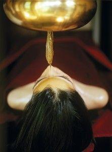 "Shirodhara: warm oil applied to the ""third eye"" at Ananda Spa in the Himalayas, India | Ayurvedic Spa Treatments"